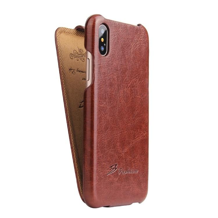 Кожаный флип-чехол на iPhone X / XS-коричневый