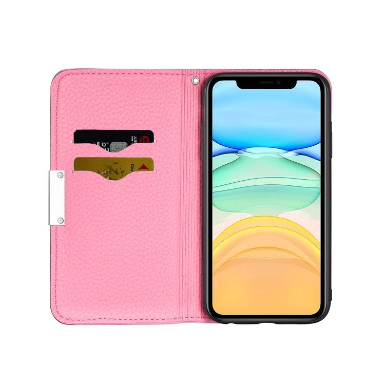 Розовый чехол-книжка с слотами под кредитки для Айфон 12