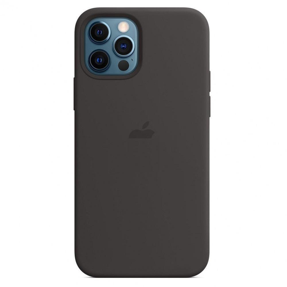 Силиконовый чехол накладка для Айфон 12 черного цвета
