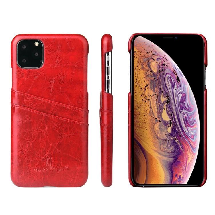 Кожаный чехол на Айфон 11 Pro- красного цвета