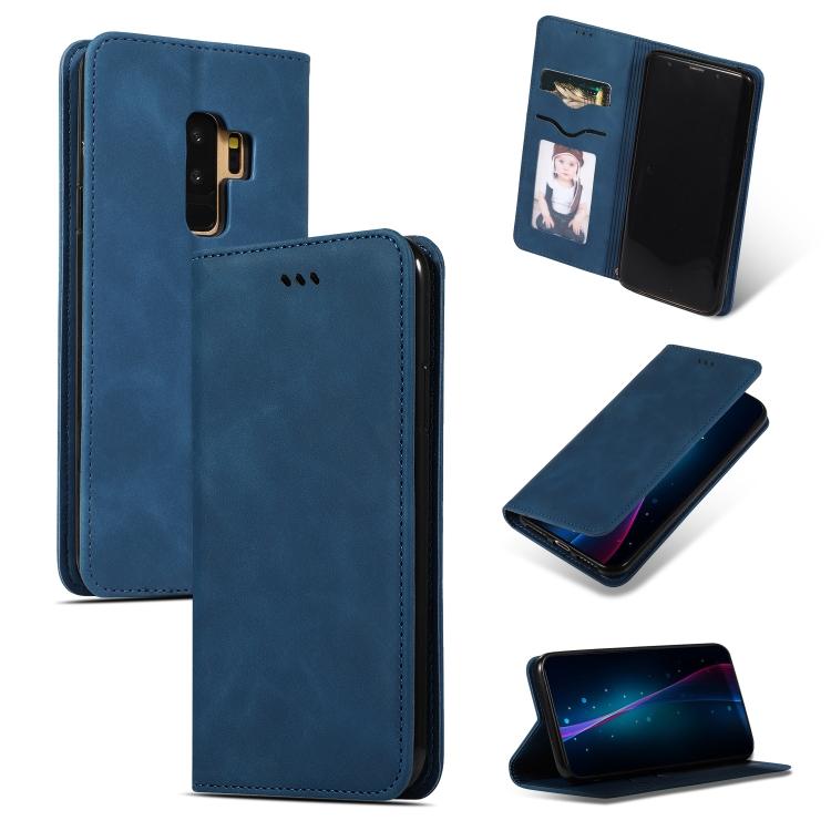 Кожаный чехол-книжка синего цвета для Самсунг Гелекси С9 Плюс
