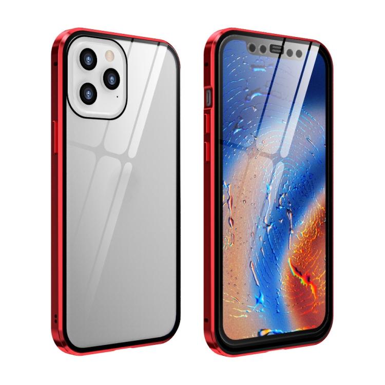 Двухсторонний магнитный чехол Adsorption Metal Frame для iPhone 12 Pro Max - красный