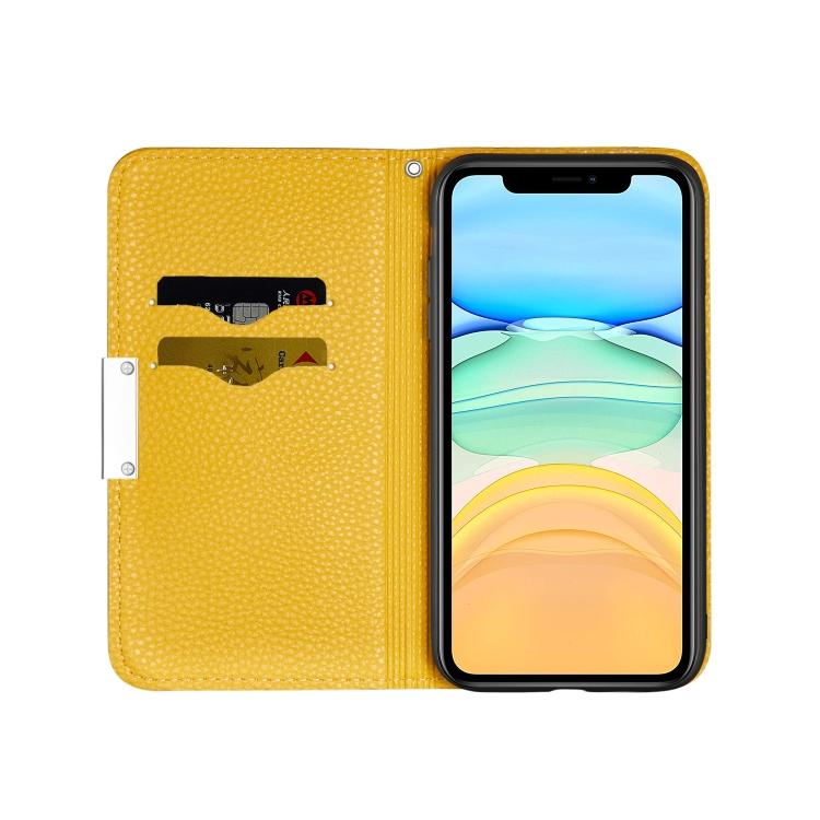 Желтый чехол-книжка Litchi Texture на iPhone 12 Mini