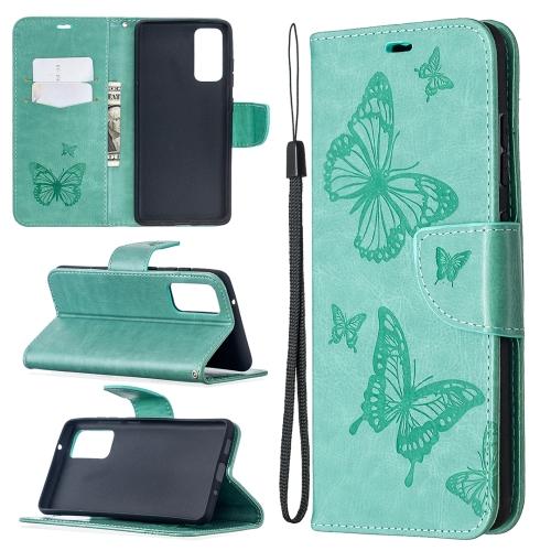 Чехол-книжка зеленого цвета с бабочками и складной подставкой для Самсунг Гелекси С20 ФЕ