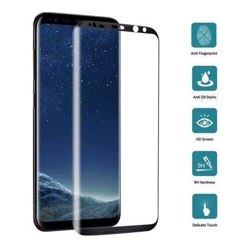 Защитное 3D стекло на весь экран 0.3 мм 9Аш Черное для Самсунг С8 Плюс