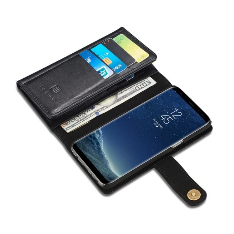 Кожаный чехол-кошелек DG.MING Triple Fold Crazy Horse Texture на Samsung S8 Plus - черный
