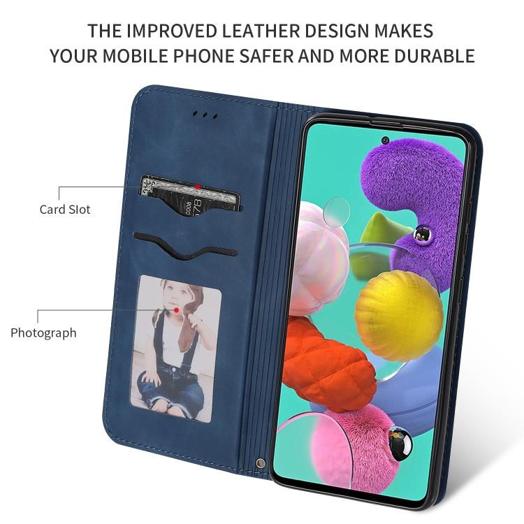 Синий чехол-книжка с отсеками для кредиток Business на Samsung Galaxy А51