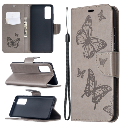 Чехол-книжка Butterflies Pattern на Samsung Galaxy S20 FE - серый
