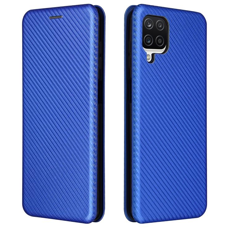 Чехол-книжка Carbon синего цвета на Samsung Galaxy A12 / M12