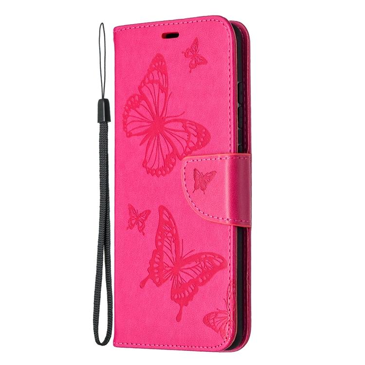 Чехол кожаный розового цвета с бабочками для Самсунг Гелекси С20 ФЕ