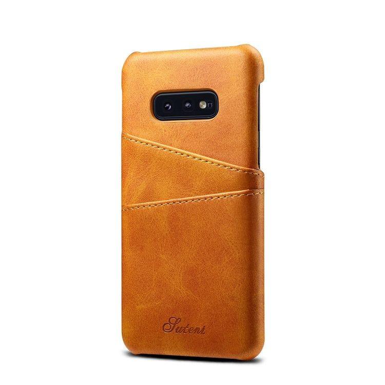 Кожаный чехол накладка оранжевого цвета для Самсунг Гелекси С10е