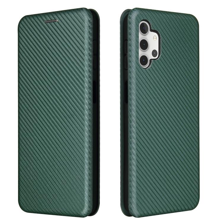 Чехол-книжка карбоновый на Samsung Galaxy A32 - зеленый