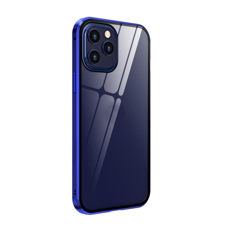 Магнитный двухсторонний чехол-книжка синего цвета для Айфон 12 Про Макс