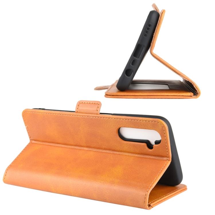 Чехол-книжка Dual-side Magnetic Buckle для Реалми 6 - оранжевый