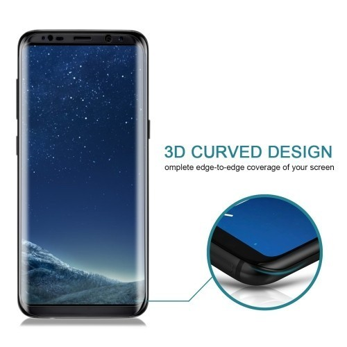 Защитное 3D стекло на весь экран 0.3mm 9H Черное для Самсунг С8 Плюс
