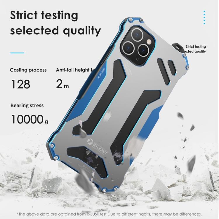 Противоударный металлический чехол R-JUST Armor Metal на Айфон 12 Mini- синий