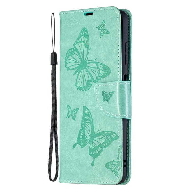 Чехол-книжка Butterflies зеленого цвета на Xiaomi Poco X3 Pro