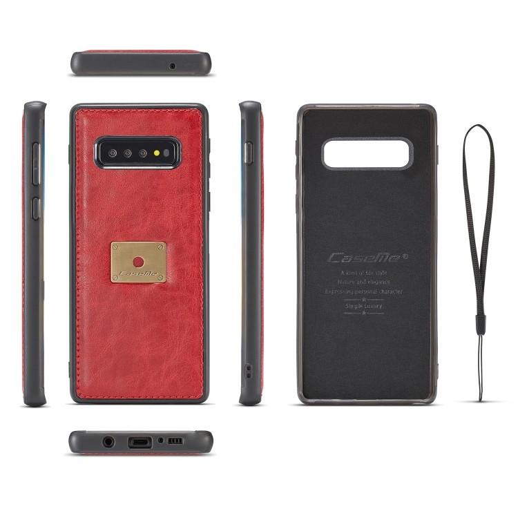 Кожаный чехол-книжка CaseMe Qin Series Wrist Strap Wallet Style со встроенным магнитом на  Самсунг Гелекси S10- красный