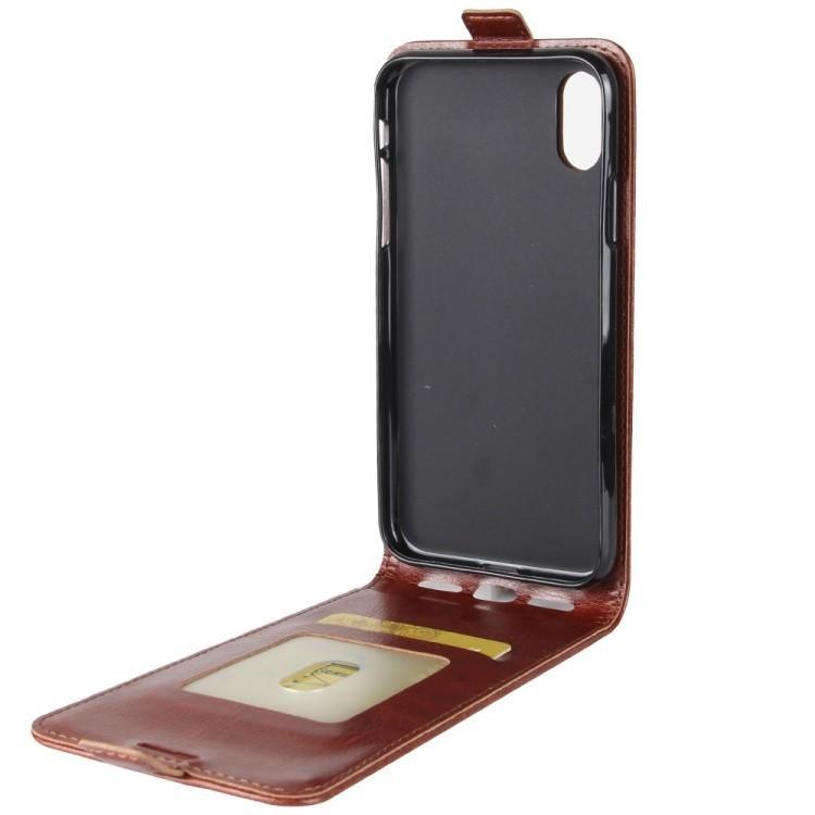Кожаный флип чехол на iPhone X/Xs Crazy Horse Texture со слотом для кредитной карты красный
