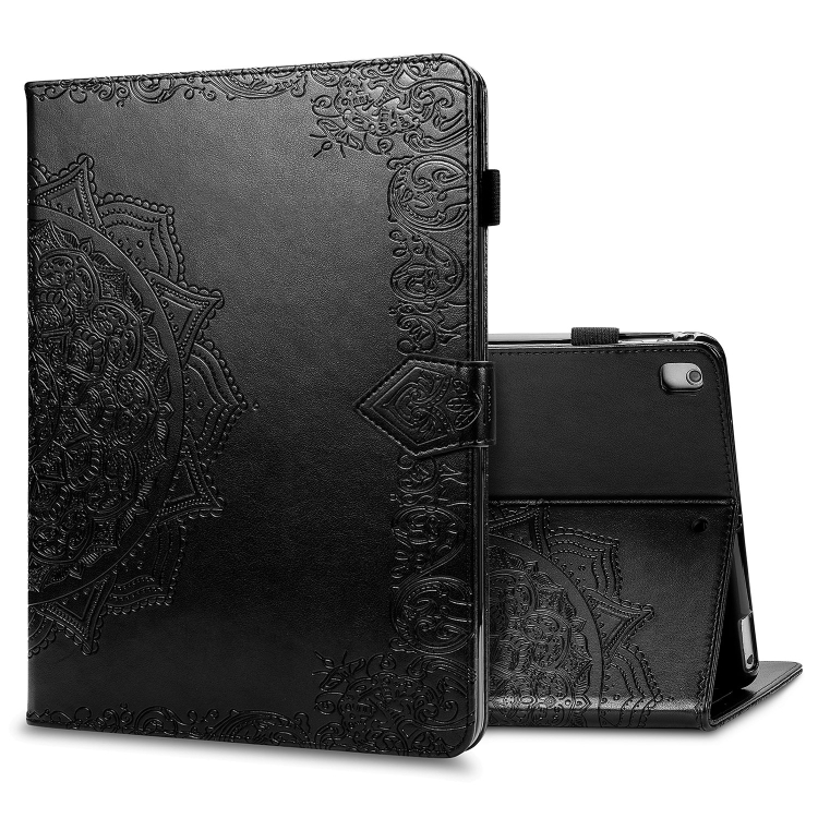 Чехол-книжка Embossed Mandala для iPad 10.2 / iPad 10.2 (2020) - черный