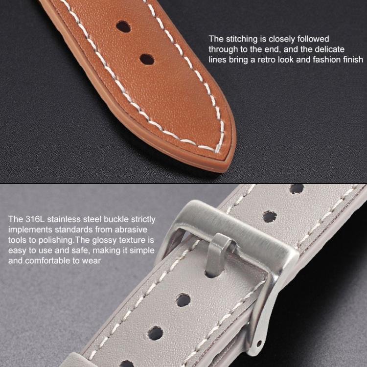 Кожаный ремешок Mutural Leather на Apple Watch 42/44mm - черный