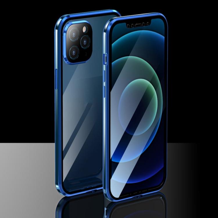 Двухсторонний магнитный чехол Electroplating Frame для iPhone 12 Pro Max - синий