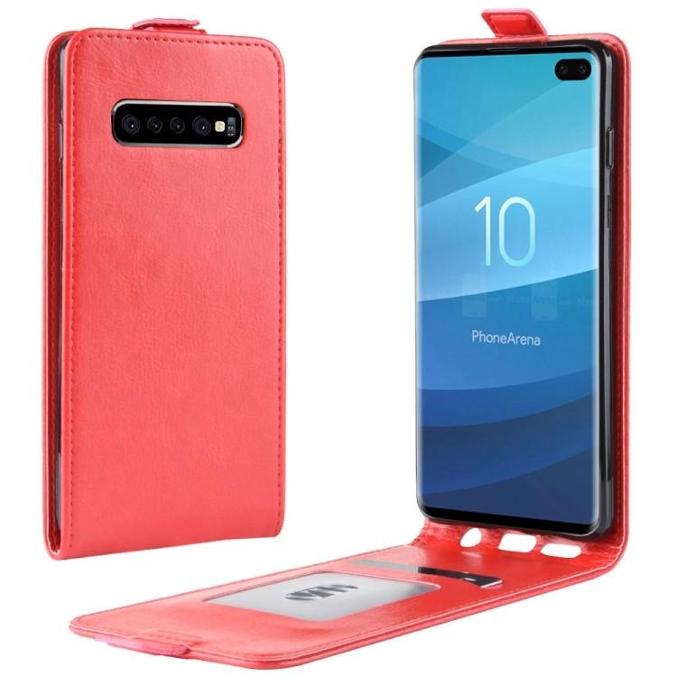 Кожаный флип-чехол Business Style на Samsung Galaxy S10 Plus/G975-красный