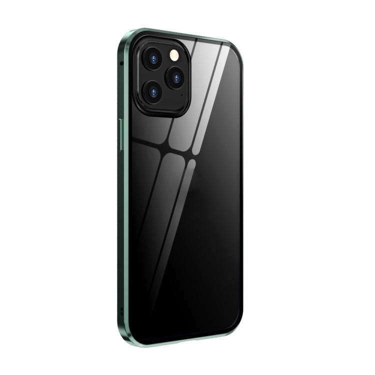 Двухсторонний магнитный чехол Adsorption Metal Frame для iPhone 12 Pro Max - светло-зеленый