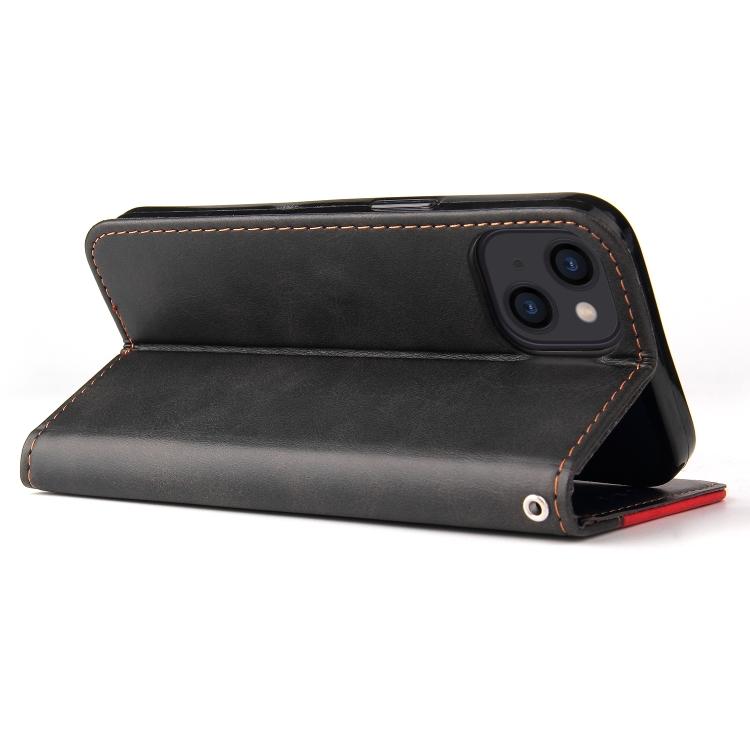 Ударостойкий кожаный чехол-книжка со складной подставкой на Айфон 13