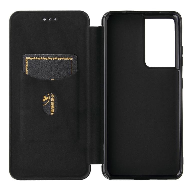 Карбоновый чехол-книжка черного цвета на Самсунг Галакси  С21 Ультра