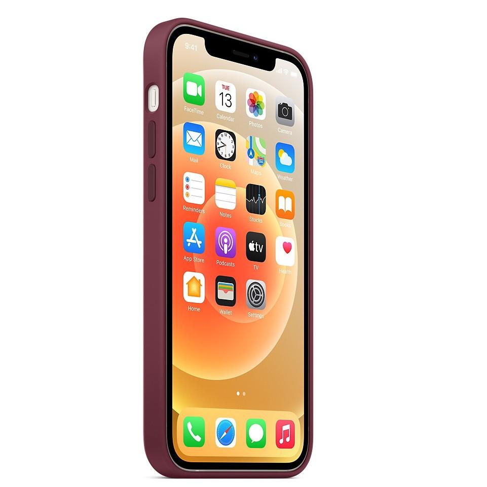 Защитный чехол накладка силиконовый для Айфон 12 Про Макс вино-красного цвета