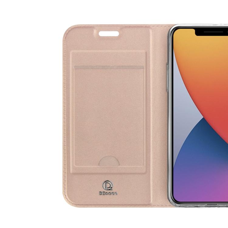Чехол-книжка с слотом под кредитки для Айфон 12 розового цвета