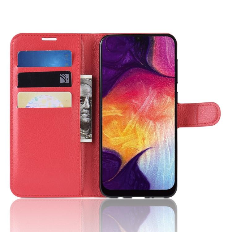 Кожаный чехол- книжка Litchi Texture Samsung Galaxy A50/A30s/A50s- красный