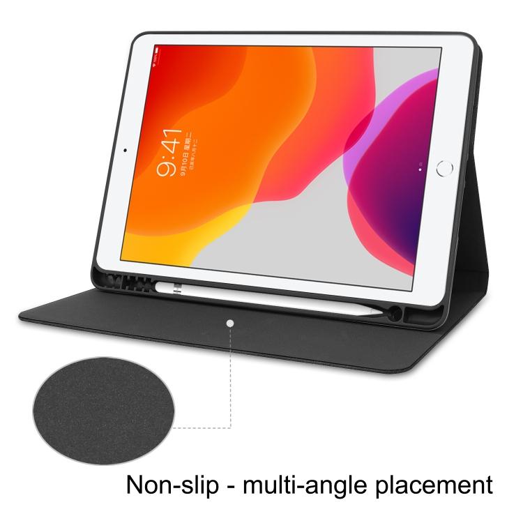 Кожаный чехол Cowhide Texture на iPad 10.2 с держателем для стилуса  - черный