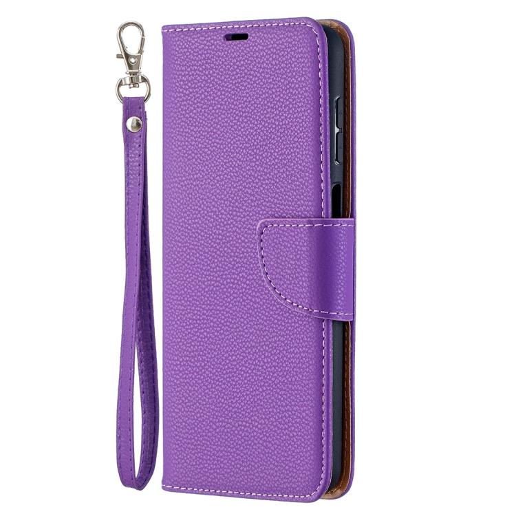 Фиолетовый чехол-книжка Litchi Pure на Samsung Galaxy A12/M12