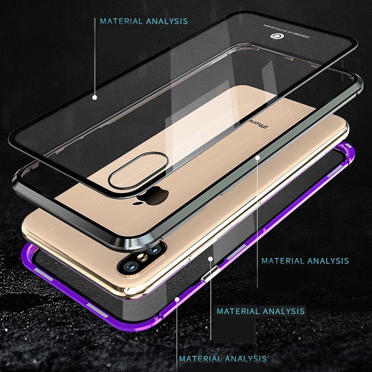 Двусторонний  Стеклянный черный чехол на Айфон X/Xs
