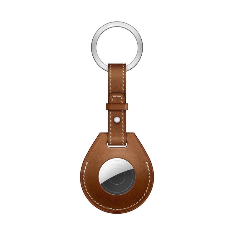 Кожаный брелок  с кольцом Keychain для ЭйрТег - коричневый