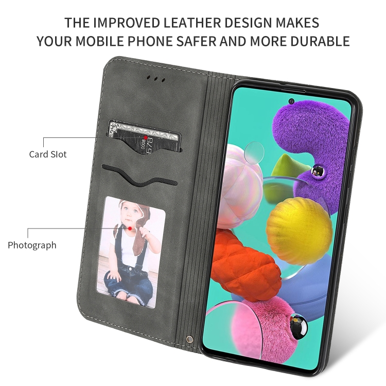 Чехол- книжка Retro со слотами на Samsung Galaxy А51 - черный