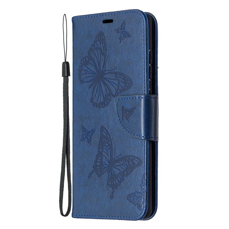Темно-синий чехол с бабочками и магнитной защелкой