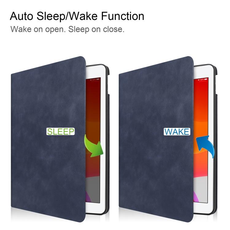 Кожаный чехол с функцией Smart Sleep / Wake-up Cowhide Texture на Айпад 10.2- темно-синий