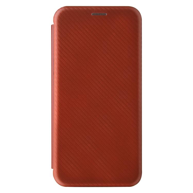 Чехол-книжка Carbon Fiber Texture на Xiaomi Mi 10S - коричневый