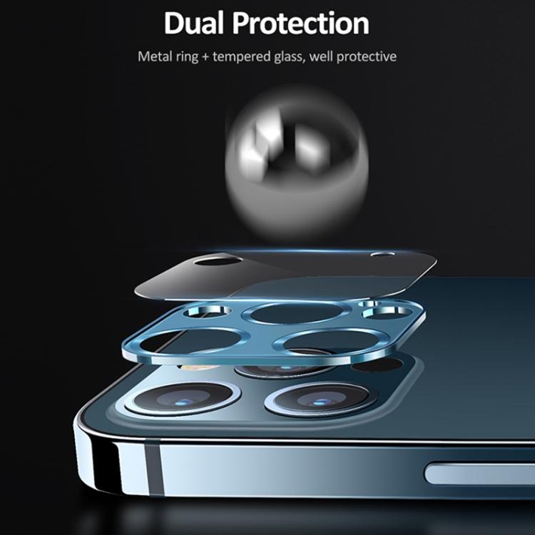 Защитное стекло на камеру USAMS US-BH707 для iPhone 12 Pro Max - синее