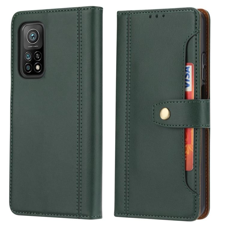 Кожаный зеленый чехол-книжка с слотами под кредитки для Сяоми Ми 10Т