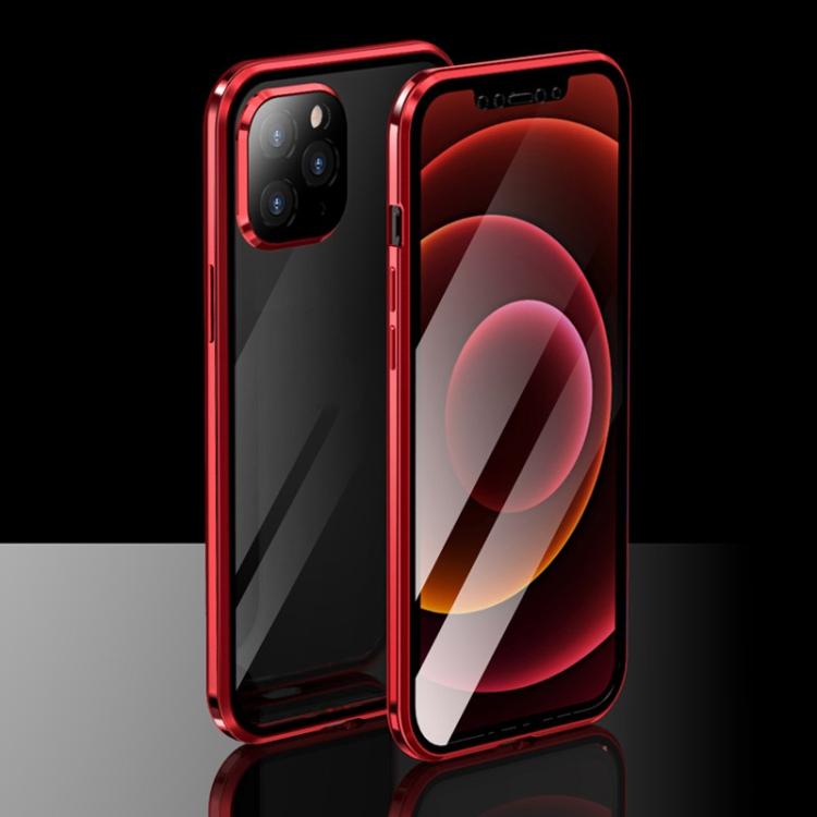 Двухсторонний магнитный чехол Electroplating Frame для iPhone 12 / 12 Pro - красный