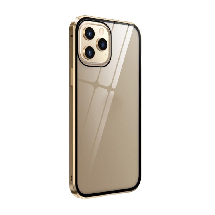 Чехол-книжка двухсторонний на Айфон 12 Про Макс золотого цвета