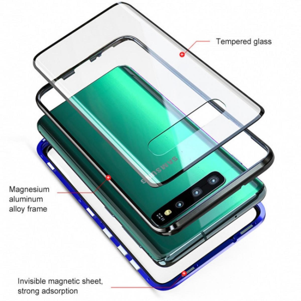Черный стеклянный двусторонний магнитный чехол Magnetic Angular Frame для Самсунг Галакси Нот 10
