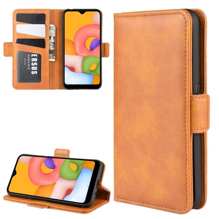 Чехол-книжка Dual-side Magnetic Buckle для  Samsung Galaxy A01 - оранжевый