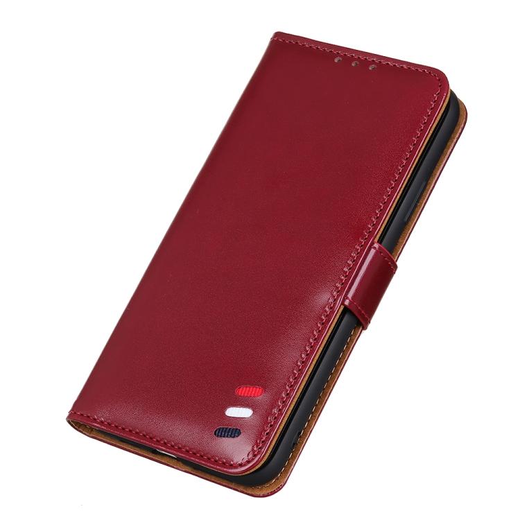 Кожаный чехол-книжка для Redmi Note 10/Note10S красный