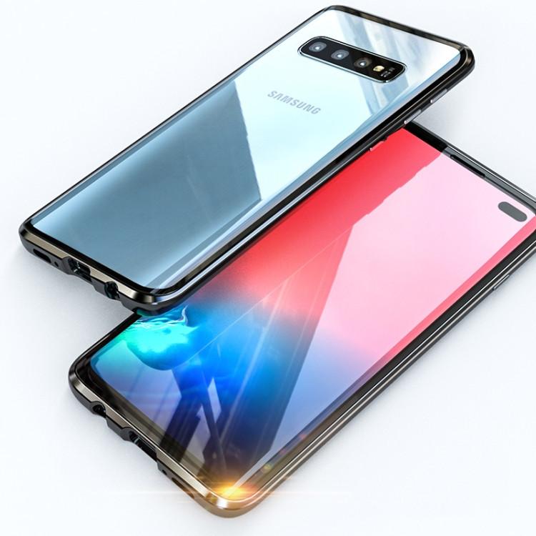 Двусторонний магнитный чехол Magnetic Angular Frame Tempered Glass на Samsung Galaxy S10 - черный