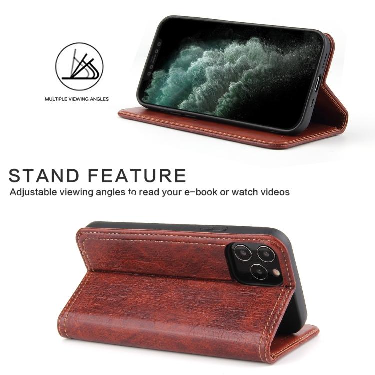 Чехол подставка коричневого цвета для Айфон 12 Про  Макс